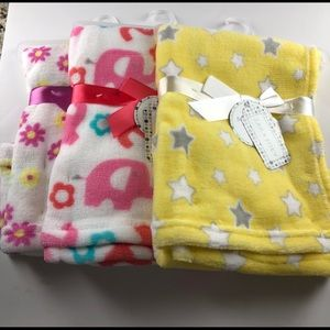 Set of 3 Soft Baby Blankets each measure 30x30 NWT
